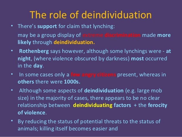 how might deindividuation theory explain the Jumping on a bomb to save the rest of his brigade or why an individual in a gang might the first part of this paper will discuss the theory of deindividuation.