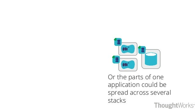 Or the parts of one application could be spread across several stacks