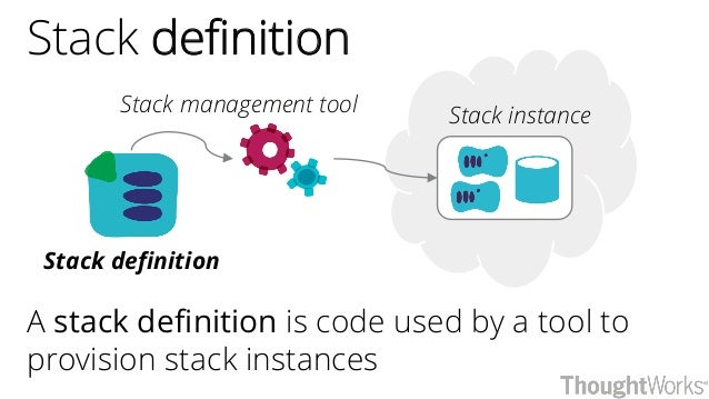 Stack definition A stack definition is code used by a tool to provision stack instances Stack definition Stack instanceSta...