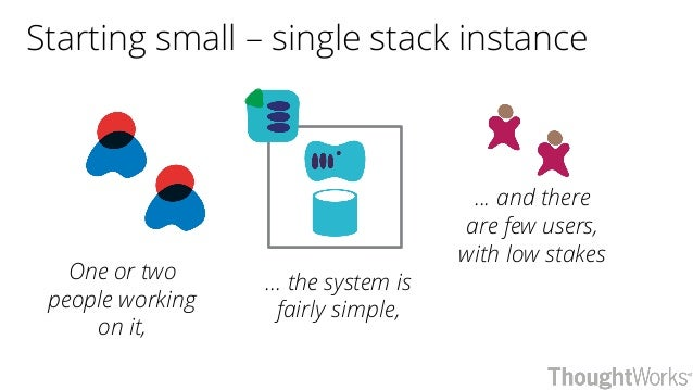 Starting small – single stack instance One or two people working on it, ... the system is fairly simple, ... and there are...