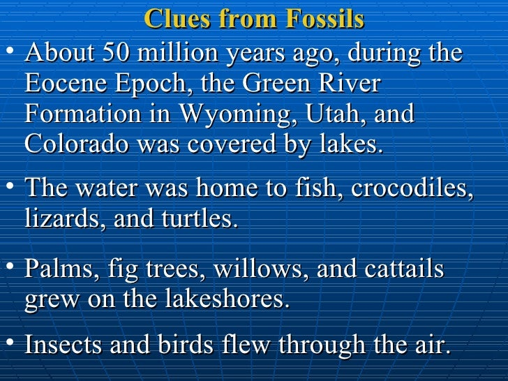 Clues from Fossils <ul><li>About 50 million years ago, during the Eocene Epoch, the Green River Formation in Wyoming, Utah...