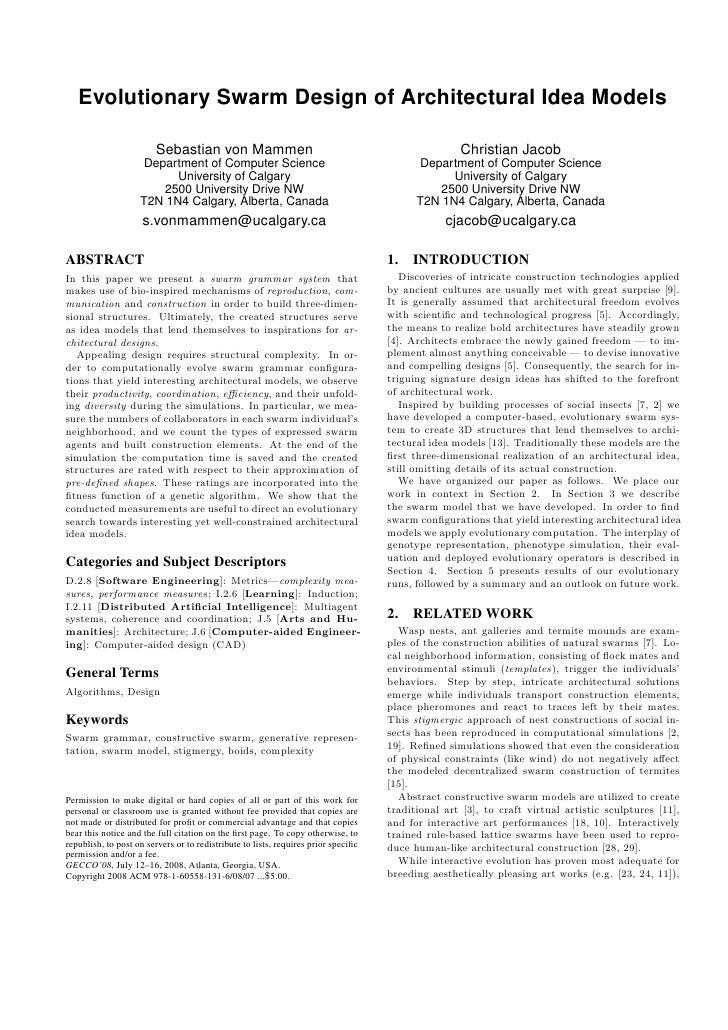 Evolutionary Swarm Design of Architectural Idea Models                        Sebastian von Mammen                        ...