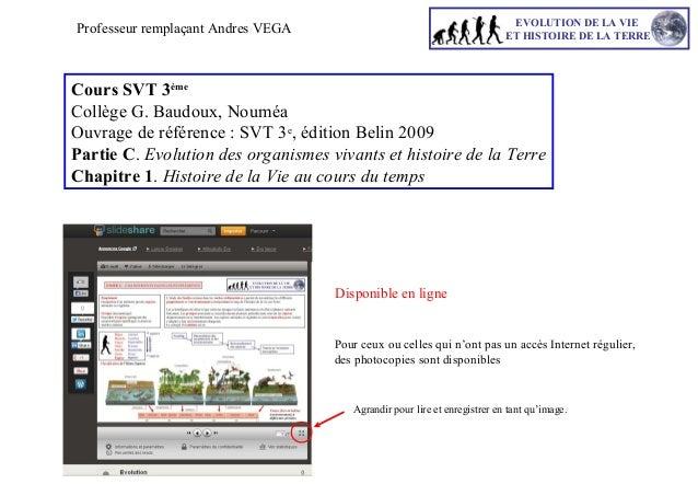 EVOLUTION DE LA VIE ET HISTOIRE DE LA TERRE  Professeur remplaçant Andres VEGA  Cours SVT 3ème Collège G. Baudoux, Nouméa ...