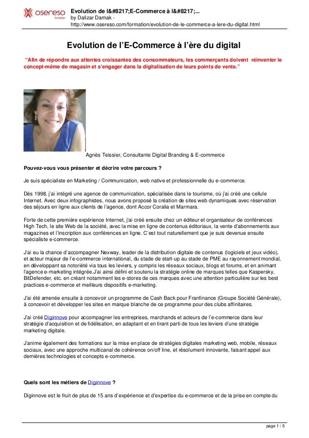 Evolution de l'E-Commerce à l'... by Dalizar Damak - http://www.osereso.com/formation/evolution-de-le-commerce-a-lere-du-d...