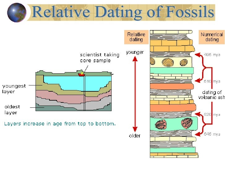 Define relative dating of fossils