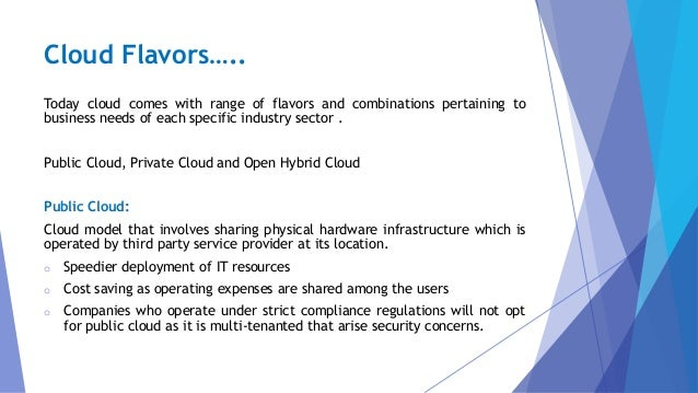 Cloud Flavors….. Today cloud comes with range of flavors and combinations pertaining to business needs of each specific in...