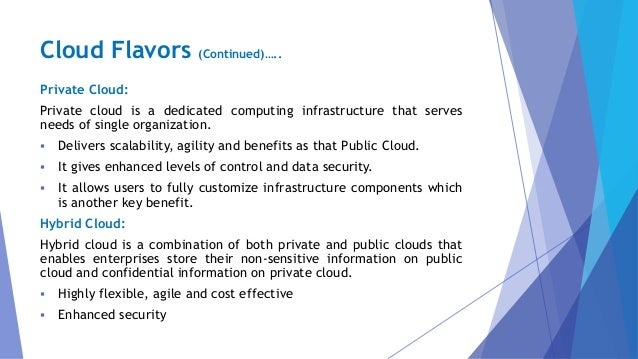 Private Cloud: Private cloud is a dedicated computing infrastructure that serves needs of single organization.  Delivers ...