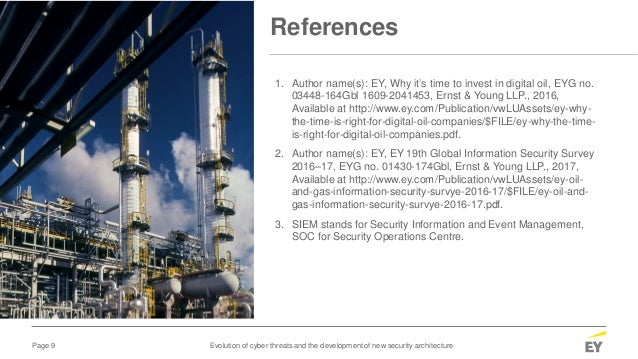 Page 9 Evolution of cyber threats and the development of new security architecture References 1. Author name(s): EY, Why i...