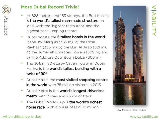 www.viability.ae…when diligence is due More Dubai Record Trivia! • At 828 metres and 163 storeys, the Burj Khalifa is the...