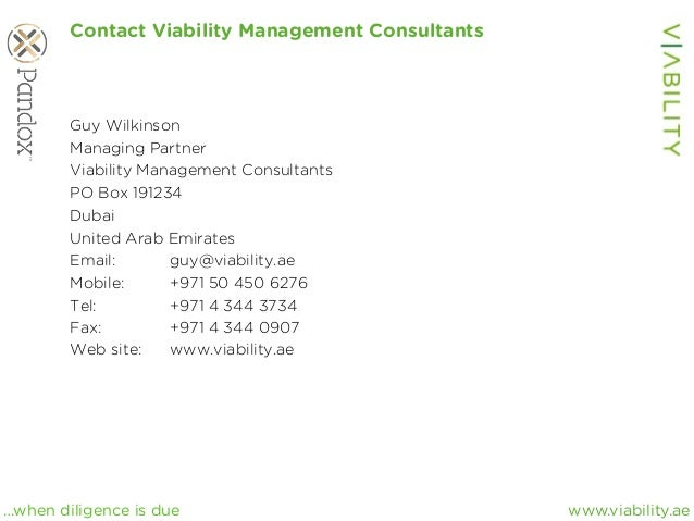 www.viability.ae…when diligence is due Contact Viability Management Consultants Guy Wilkinson Managing Partner Viability M...
