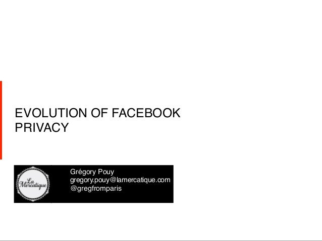 EVOLUTION OF FACEBOOKPRIVACY!        !Grégory Pouy!        !gregory.pouy@lamercatique.com!        !@gregfromparis!    !   ...