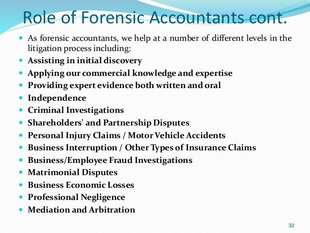 role and functions of forensic accountant