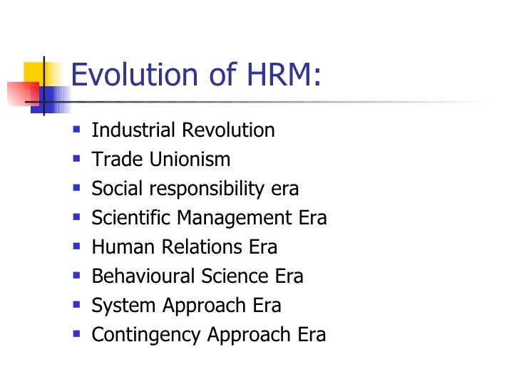 Evolution of human resource management thought
