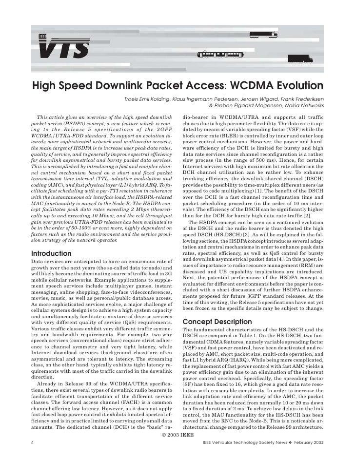 High Speed Downlink Packet Access: WCDMA Evolution                                          Troels Emil Kolding, Klaus Ing...