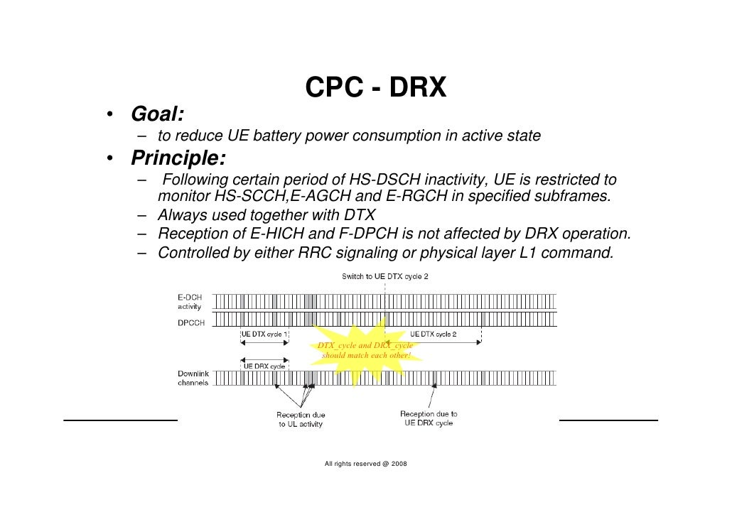 CPC - DRX • Goal:    – to reduce UE battery power consumption in active state • Principle:    – Following certain period o...