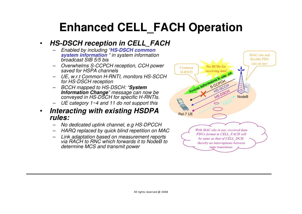 """Enhanced CELL_FACH Operation •   HS-DSCH reception in CELL_FACH     –   Enabled by including """"HS-DSCH common         syste..."""