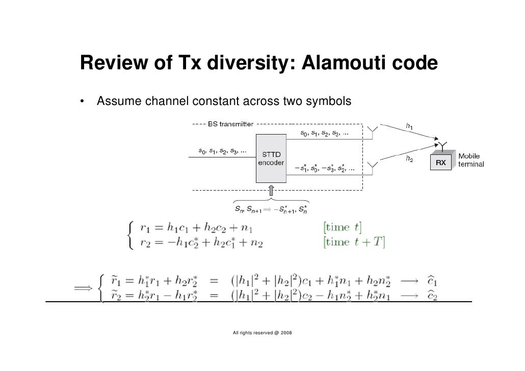 Review of Tx diversity: Alamouti code •   Assume channel constant across two symbols                               All rig...