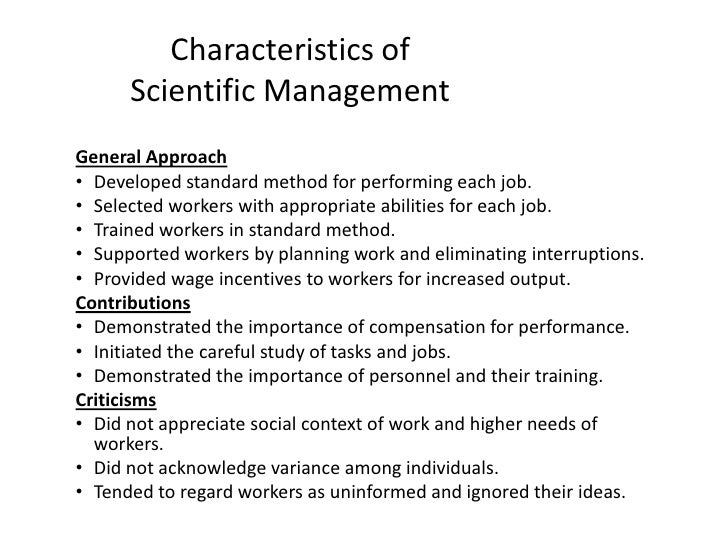 Characteristics of scientific management | Coursework Example