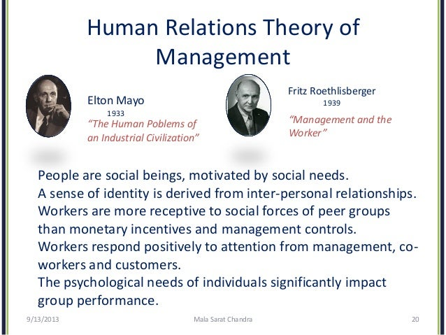 human relations movement elton mayo Human relations theory and school administration  by george elton mayo,  human relations movement emerged around.