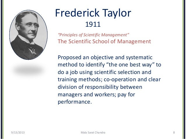 "evolution of management theory  8 frederick taylor 1911 ""principles of scientific management"""