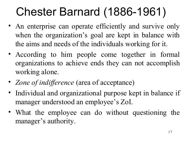 chester barnards management theory essay In tacit presumptions of willing compliance embedded in influential theories of  management, particularly the works of chester barnard and herbert simon and.