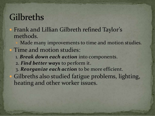 Frank and lillian gilbreth motion studies