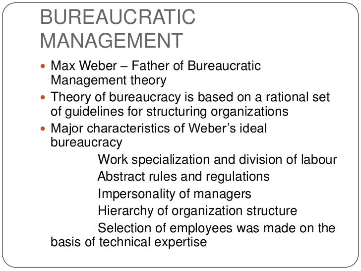 bureaucracy theory of weber essay Max weber – bureaucracy essay b pages:7  there are three assumptions based on the classical theory 1-the relationship between employees and management is .