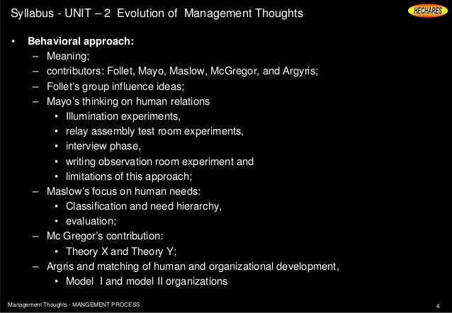 management thoughts and theories The universal theory of management evolved in the early twentieth century has been replaced by a number of contingency theories currently in vogue in the early twentieth century, the focus was on physical factors, viewed from industrial, engineering and economic perspectives.