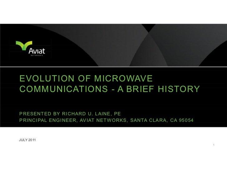 EVOLUTION OF MICROWAVECOMMUNICATIONS - A BRIEF HISTORYPRESENTED BY RICHARD U. LAINE, PEP R I N C I PA L E N G I N E E R , ...