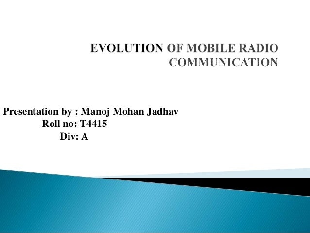 evolution of mobile radio communication pdf