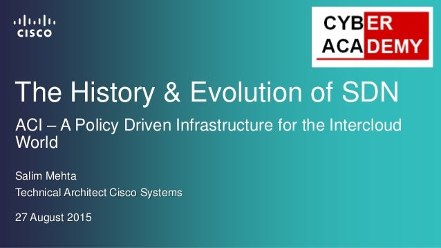 ACI – A Policy Driven Infrastructure for the Intercloud World Salim Mehta Technical Architect Cisco Systems The History & ...