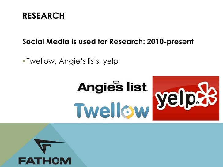 RESEARCHConsumers: use social media to do research byasking other consumers what products to buy Anything from a Car/hous...