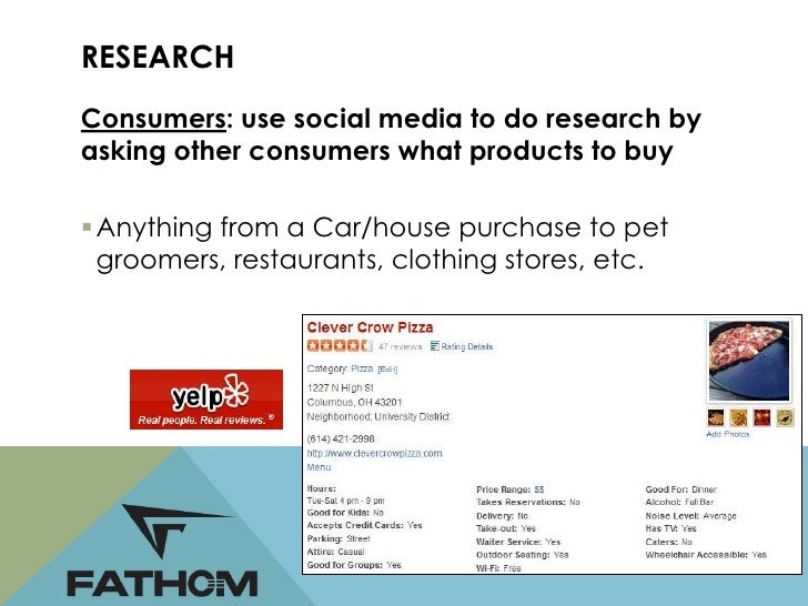 RESEARCHBrands: Use social media to find out what theirtarget audience is talking about Research on age, demographics, in...