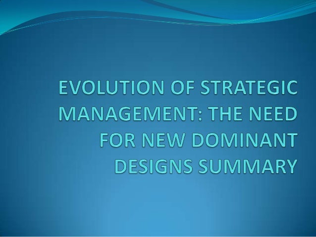 " ""The development of strategic management is explained from an evolutionary perspective on the basis of cycles of variati..."