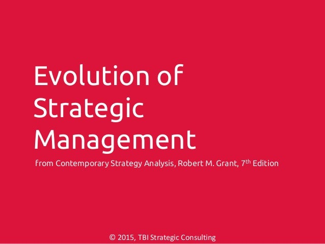 from Contemporary Strategy Analysis, Robert M. Grant, 7th Edition © 2015, TBI Strategic Consulting Evolution of Strategic ...
