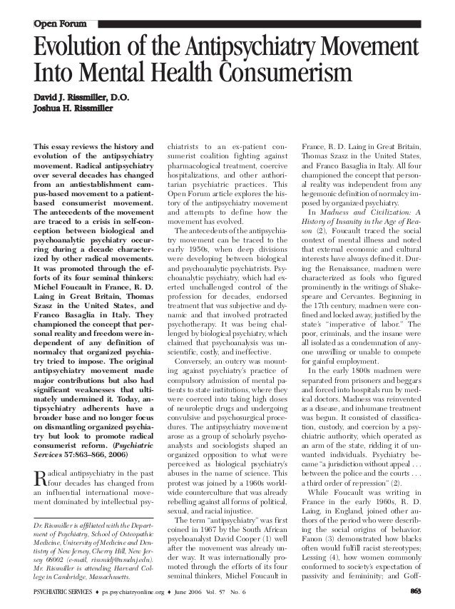 PSYCHIATRIC SERVICES ♦ ps.psychiatryonline.org ♦ June 2006 Vol. 57 No. 6 886633 This essay reviews the history and evoluti...