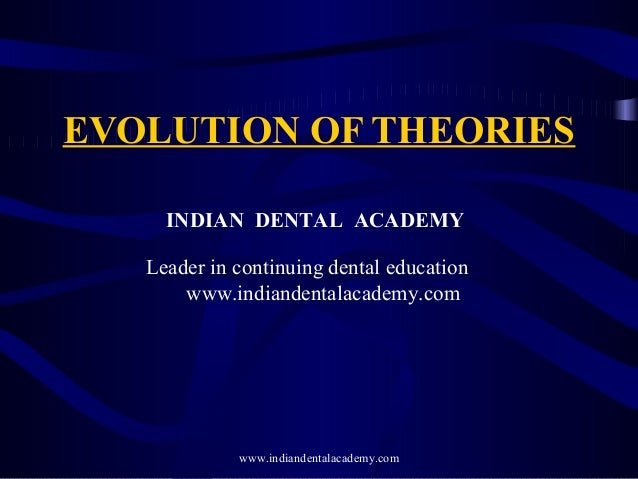 EVOLUTION OF THEORIES INDIAN DENTAL ACADEMY Leader in continuing dental education www.indiandentalacademy.com www.indiande...