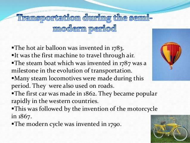 History of transportation mode.