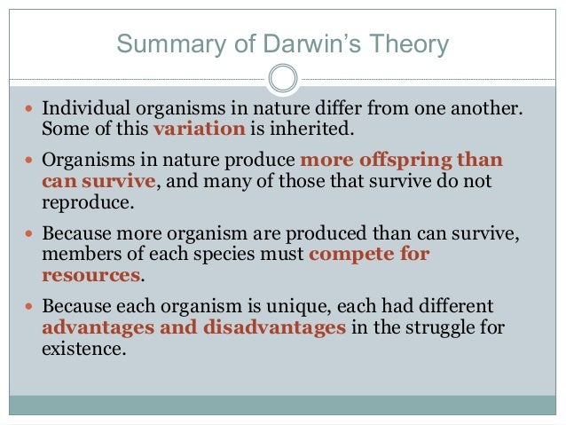 a brief biography and the overview of the darwins evolution by natural selection compilation Overview: the conflict evolution through natural selection is a fact (see darwin and his theory of evolution) these scientists and others dismiss creation science as religion, not science first articulated by charles darwin, that life on earth has evolved through natural selection.
