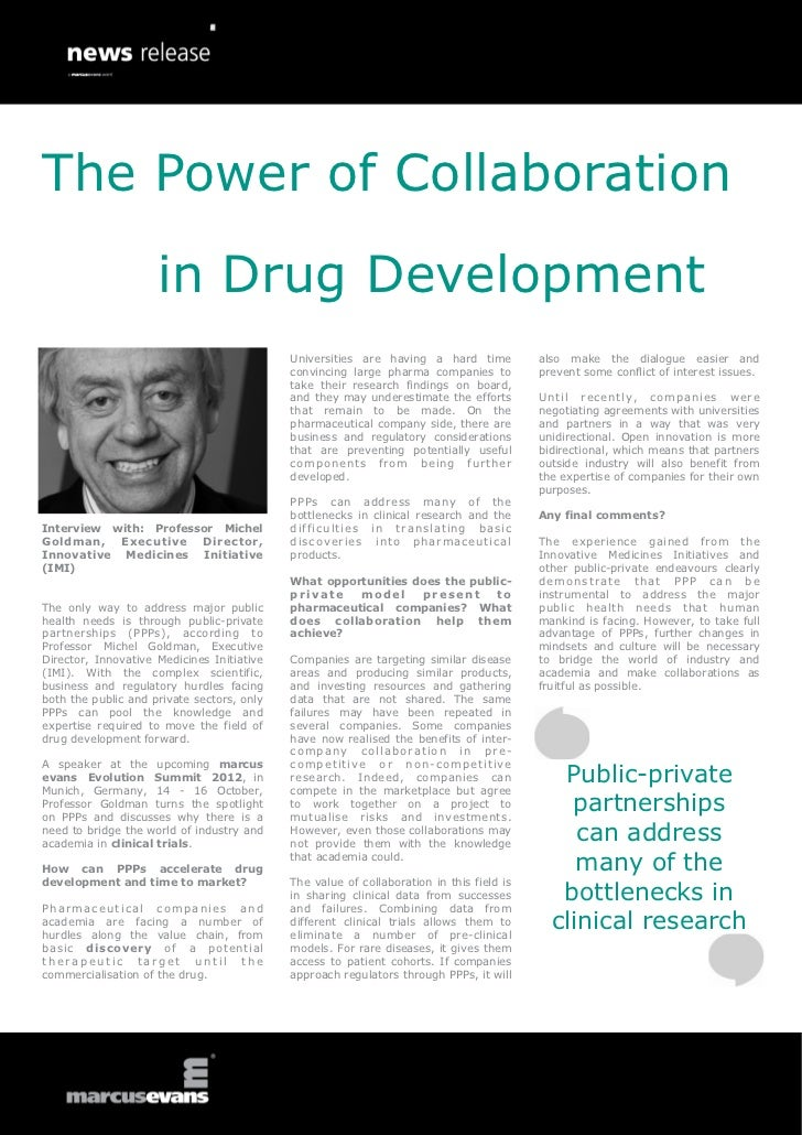 The Power of Collaboration                     in Drug Development                                            Universities...