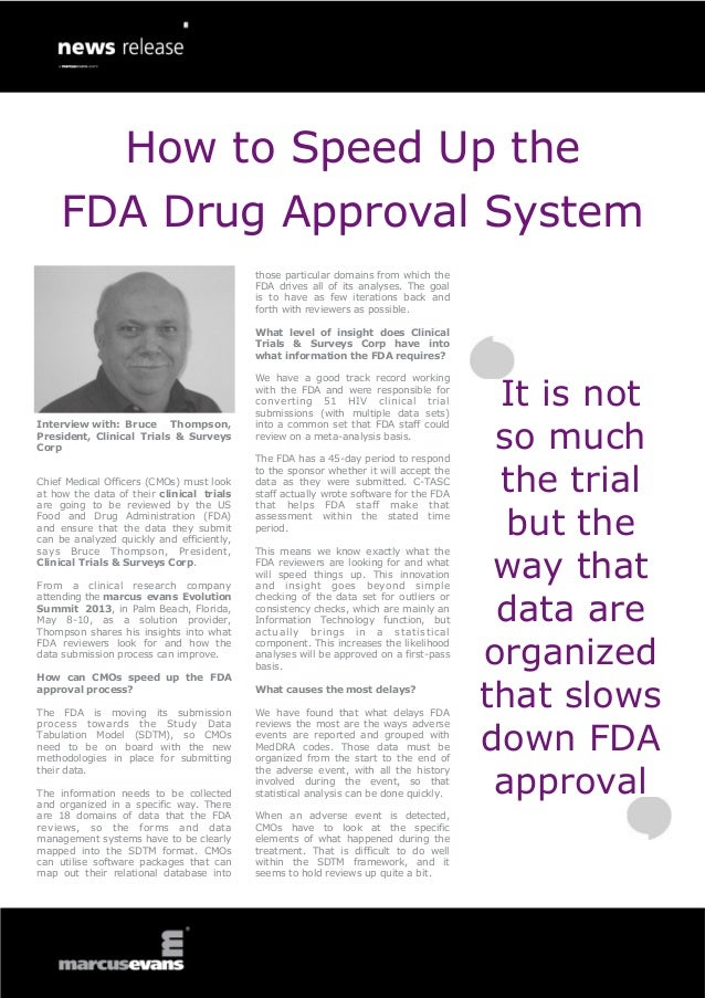 How to Speed Up the FDA Drug Approval System: Interview with: Bruce T…
