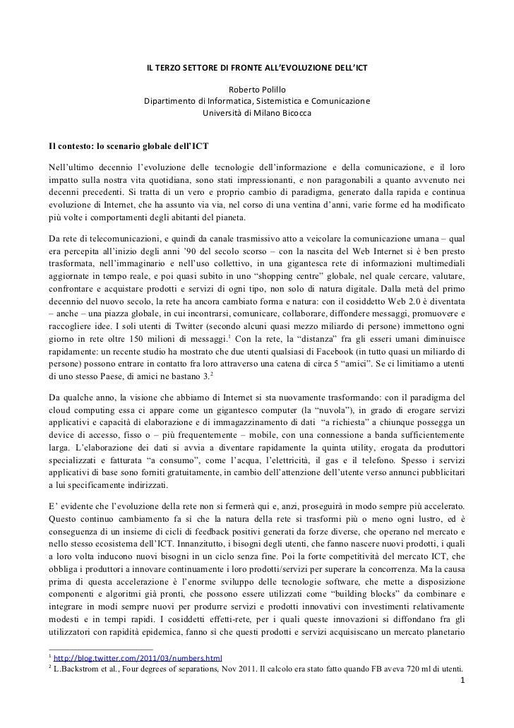 IL TERZO SETTORE DI FRONTE ALL'EVOLUZIONE DELL'ICT                                                   Roberto Polillo      ...