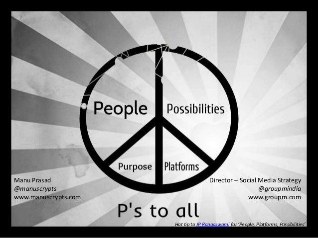 Manu Prasad @manuscrypts www.manuscrypts.com  Director – Social Media Strategy @groupmindia www.groupm.com  Hat tip to JP ...