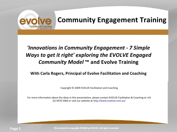 Page  'Innovations in Community Engagement - 7 Simple Ways to get it right' exploring the EVOLVE Engaged Community Model  ...