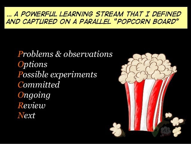 "… a powerful learning stream that I defined  and captured on a parallel ""Popcorn board""  Problems & observations  Options ..."