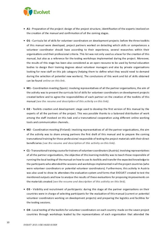 EVOLVET- 2015-1-ES01-KA202-015929 10 Evolvet • A1 - Preparation of the project: design of the project structure, identifi...