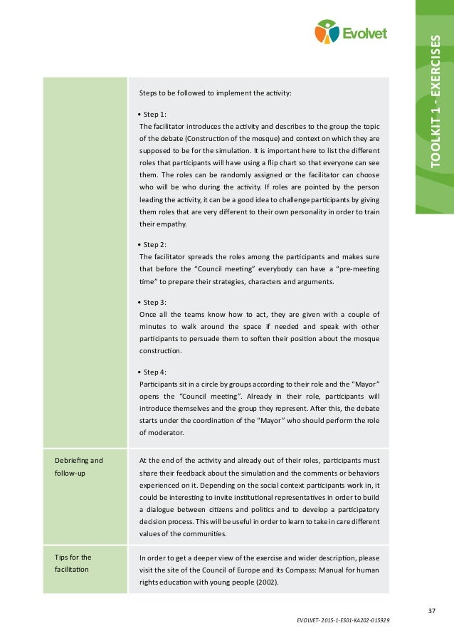 EVOLVET- 2015-1-ES01-KA202-015929 37 Evolvet Toolkit 1 - Exercises Steps to be followed to implement the activity: •Step ...