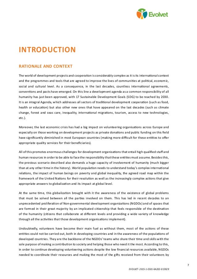 EVOLVET- 2015-1-ES01-KA202-015929 7 Evolvet Introduction Rationale and context The world of development projects and coope...