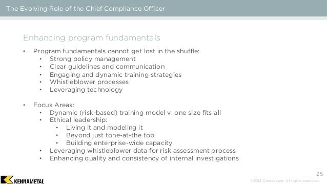 The evolving role of the chief compliance officer - Ethics and compliance officer association ...