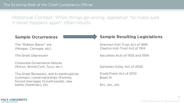 The evolving role of the chief compliance officer - Role of compliance officer in bank ...